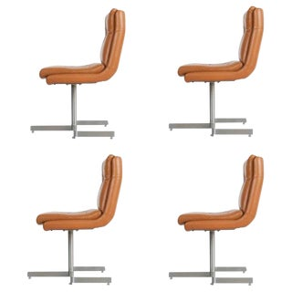 1970s Vintage Raphael French Leather Lounge Chairs- Set of 4 For Sale