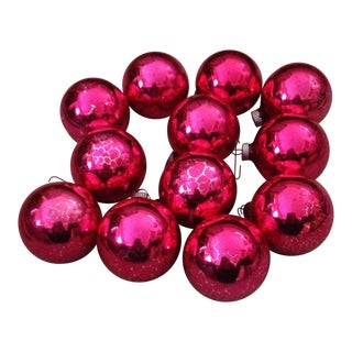 Vintage Pink Christmas Ornaments - Set of 12 For Sale