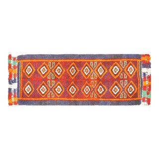 "Vintage Uzbek Tribal Hand Knotted Organic Wool Fine Weave Rug,3'3""x8'1"" For Sale"