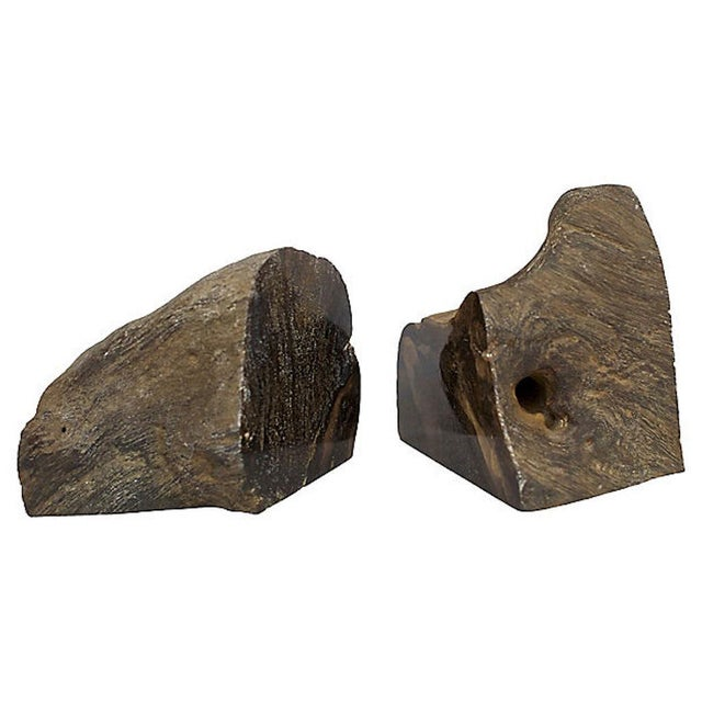Midcentury organically shaped petrified wood bookends. No maker's mark.