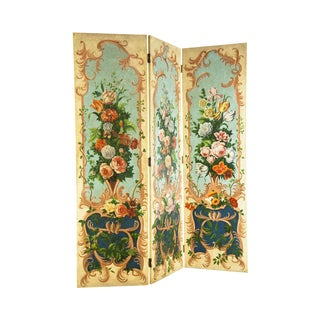Decorative Crafts Floral Hand Painted 3 Panel Folding Screen Room Divider For Sale