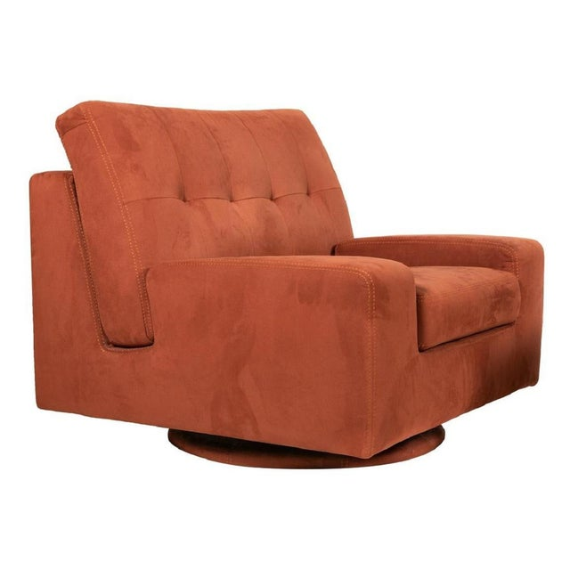 Pair of Mid Century Modern Swivel Lounge Chairs. Chairs have suede upholstery, tufted backs, swivel and comfortable.