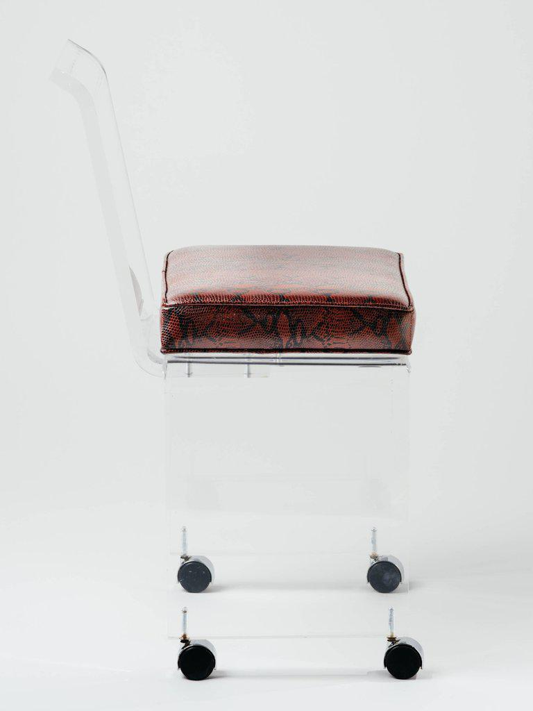 Mid Century Modern Lucite Vanity Chair In Genuine Leather With Embossed  Snakeskin In Deep Red