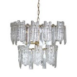Image of 1960s Mid-Century 2-Tiered Austrian Brass & Ice Frosted Chandelier by Kalmar For Sale