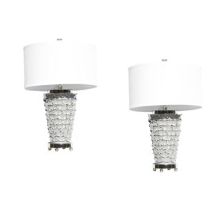 1990s Italian Grey Lacquer Flower Petal Adorned Lamps - a Pair For Sale