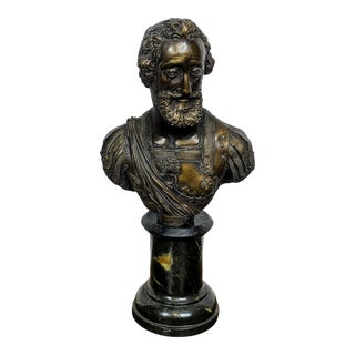 Man With Beard and Lion Armor Bust Sculpture For Sale
