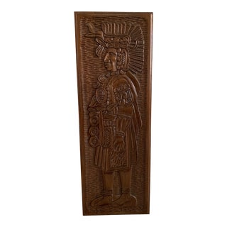 Vintage South American Wooden Wall Art Carving For Sale