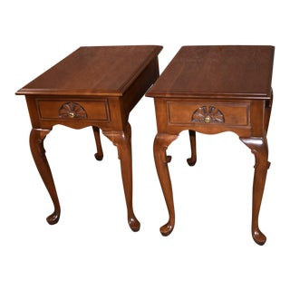 Vintage Harden Solid Cherry Queen Anne Style Side Tables - a Pair For Sale