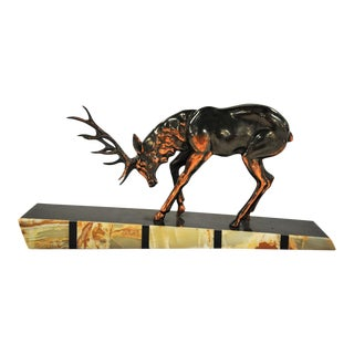 Art Deco Style Reindeer on Marble Plinth Sculpture For Sale