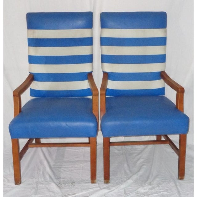 Nautical Themed Leather & Canvas Chairs - Set of 4 - Image 3 of 6