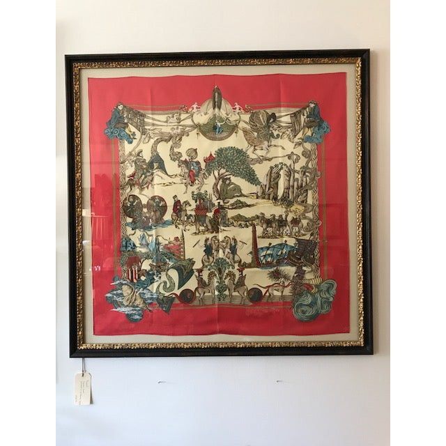 Stunning Hermes Silk Scarf Art Framed, purchased in St. Barts. Beautiful red background, with delightful pictures of...