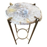 Image of Contemporary Smokey Gray and White Quartz End Table For Sale