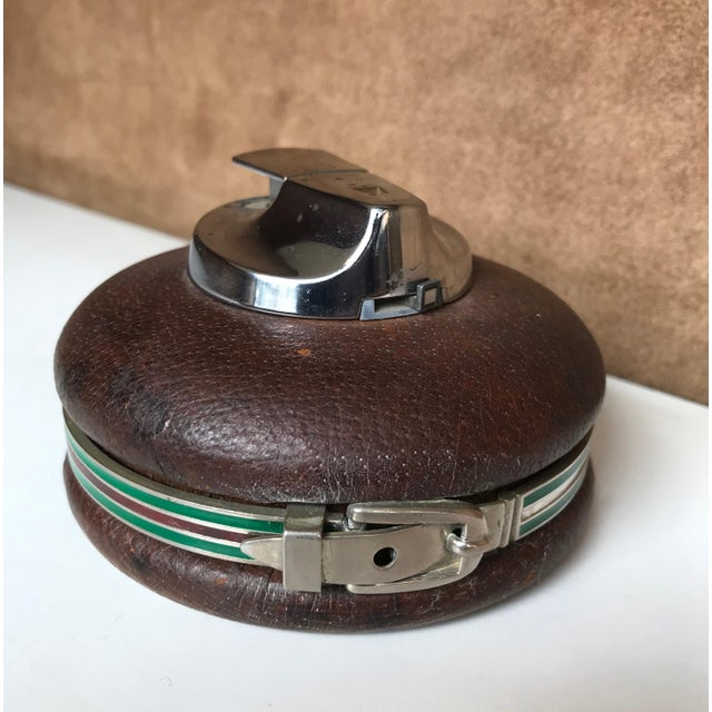 Gucci 1980s Vintage Gucci Spherical Leather Lighter For Sale - Image 4 of 8