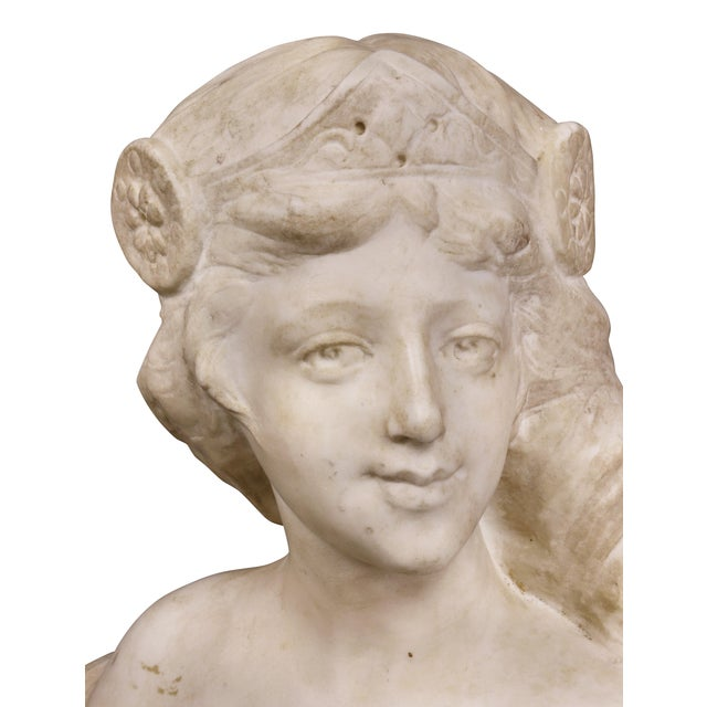 Art Nouveau French Art Nouveau White Marble Bust of a Woman For Sale - Image 3 of 11
