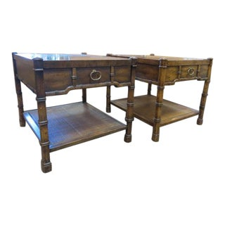 Mid-Century Modern Drexel Heritage Faux Bamboo/ Wood Side Tables - a Pair For Sale