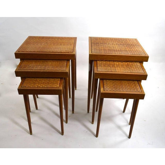Wood Pair of Nesting Stacking Tables For Sale - Image 7 of 10