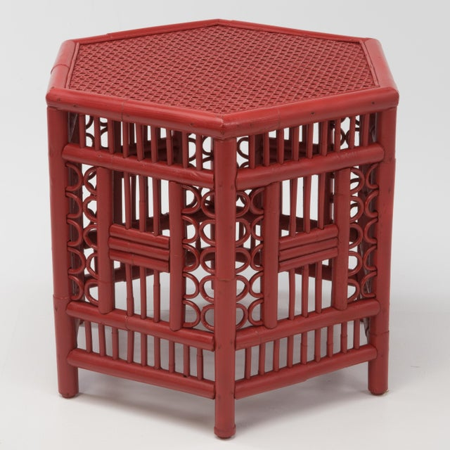 1970s 1970s Chinoiserie Hexagonal Bamboo Coffee Side Table For Sale - Image 5 of 12