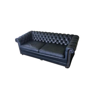 Navy Leather Chesterfield Sofa