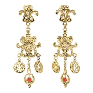 French Zoe Coste Paris Baroque Dangling Clip on Earrings For Sale
