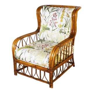 1960s Vintage Rattan Chair With Botanical Print For Sale