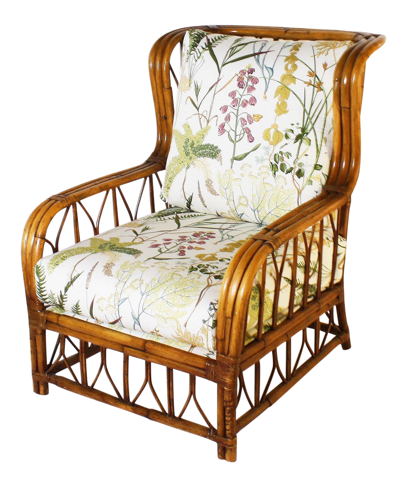 Merveilleux 1960s Vintage Rattan Chair  With Botanical Print 4008?aspectu003dfitu0026heightu003d1600u0026widthu003d1600