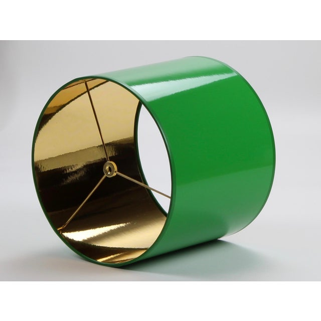 Modern Small High Gloss Green Drum Lamp Shade For Sale - Image 3 of 6