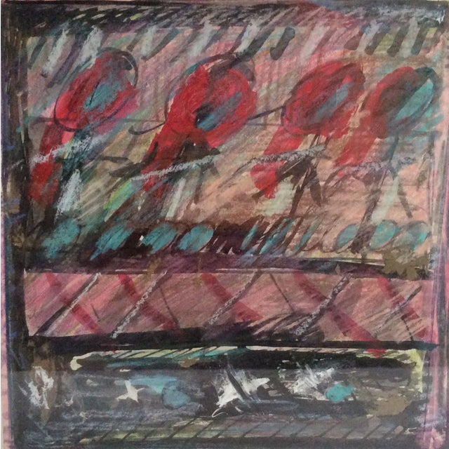 This colorful abstract, by noted artist Rosalyn Mesquita, features bold strokes in black and varying reds, and is...