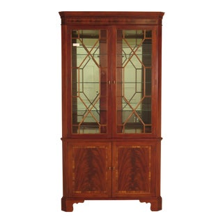 Stickley Flame Mahogany Mirrored Back Lighted Corner Cabinet For Sale