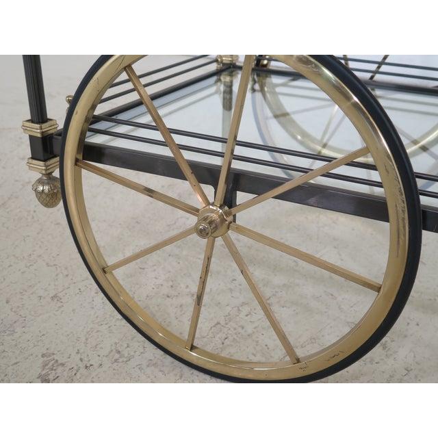 Regency Style Brass & Steel Tea Cart Server For Sale - Image 10 of 11