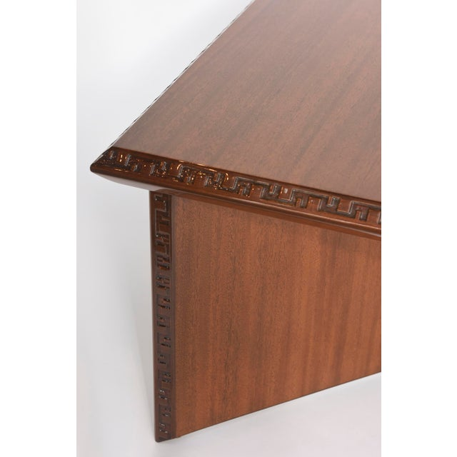 "Frank Lloyd Wright American Modern Mahogany ""Taliesin"" Low Table, Frank Lloyd Wright For Sale - Image 4 of 9"