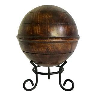 Vintage Carved Wood Sphere Lidded Cachepot For Sale