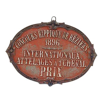 1896 Béziers France Horse Show Award For Sale
