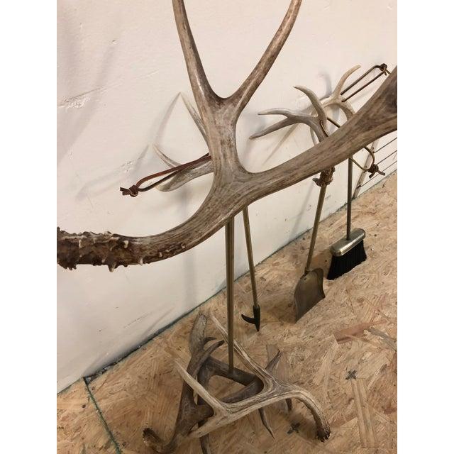Animal Skin Custom Made Antler Fireplace Set For Sale - Image 7 of 11
