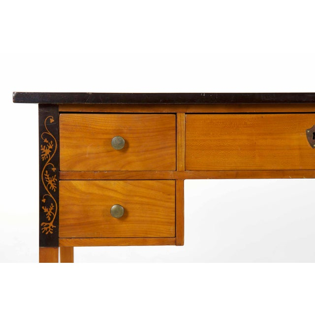 Biedermeier Style Inlaid Fruitwood Writing Table For Sale - Image 9 of 13