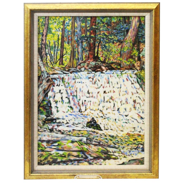 Canvas Vintage Mid-Century Ede Else Buttermilk Falls Painting For Sale - Image 7 of 7