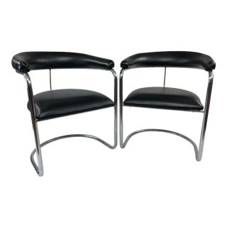 Mid Century Modern Chrome Arm Chairs by Anton Lorenz for Thonet - a Pair For Sale