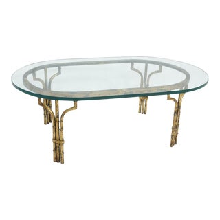 Hollywood Regency Gilt Oval Coffee Table
