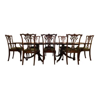 1870 Chippendale Pedestal Dining Table & 8 Chairs For Sale