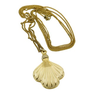 Lanvin Paris Signed Necklace Modernist Gilt Metal and Enamel Seashell Pendant For Sale