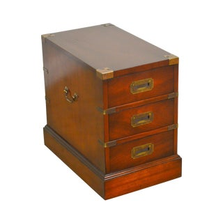 Campaign Style Vintage Mahogany 3 Drawer Chest For Sale