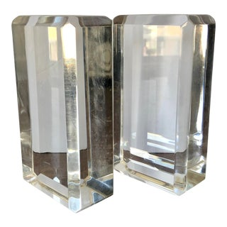 Ritts Astrolite Faceted Lucite Block Bookends-A Pair For Sale