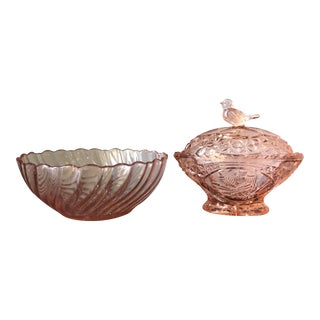 Traditional Pink Depression Glass Bowls - A Pair For Sale