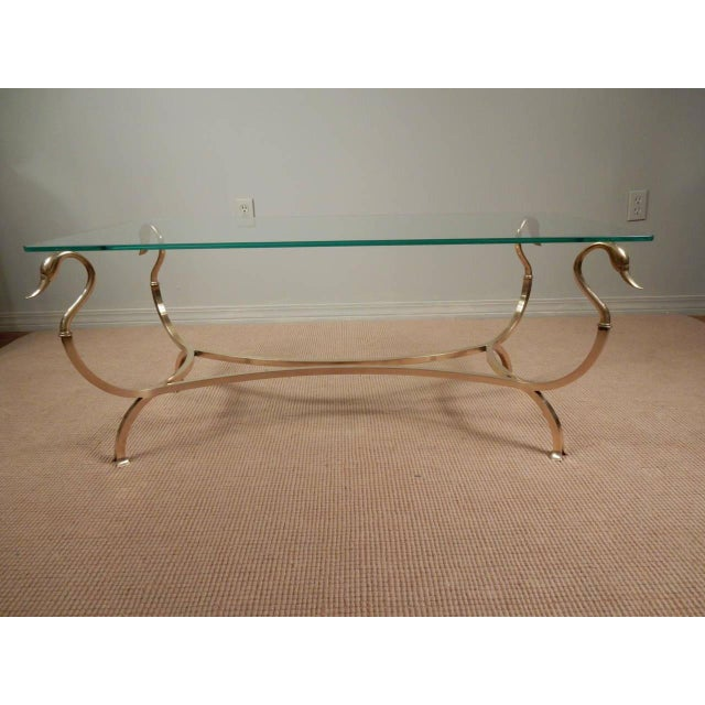 1960s Swan Head Brass and Glass Coffee Table For Sale - Image 4 of 8