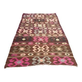 Pink & Brown Vintage Kilim Rug