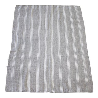 Vintage Turkish Flat-Weave Rug Gray Brown and White Stripes For Sale