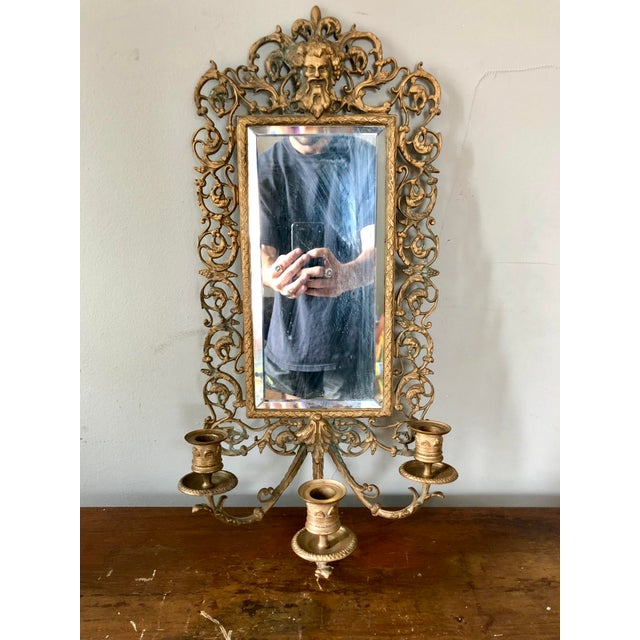 Early 20th Century Antique Brass Bacchus Three Candle Mirrored Wall Sconce For Sale - Image 5 of 5