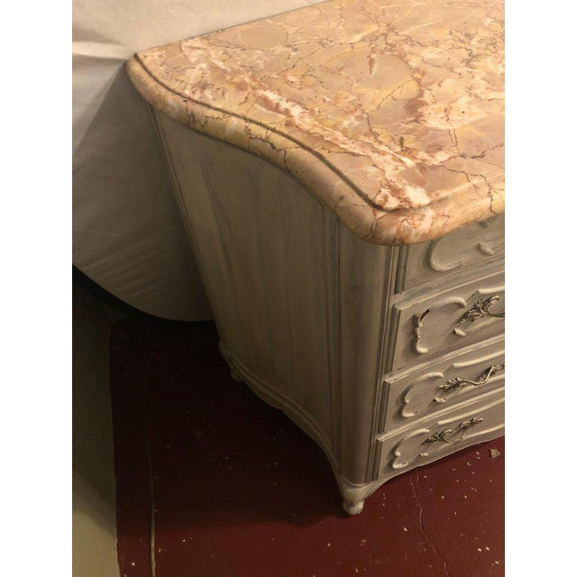 Swedish Marble-Top Four-Drawer Chest or Commode or Nightstand Louis XV Style For Sale - Image 10 of 13