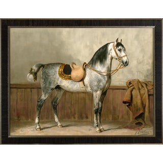 Lippizaner Horse by Eerelman Framed in Italian Wood Vener Moulding For Sale