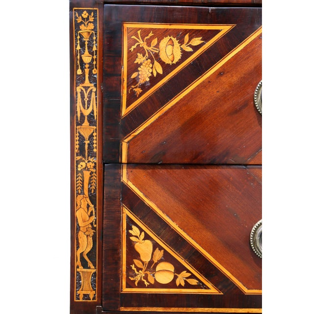 Metal Italian Neoclassic Marquetry Inlaid Commode For Sale - Image 7 of 13
