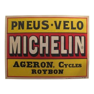 1920s Original Horizontal Art Deco Advertisement Poster - Michelin - Pneus & Velo For Sale